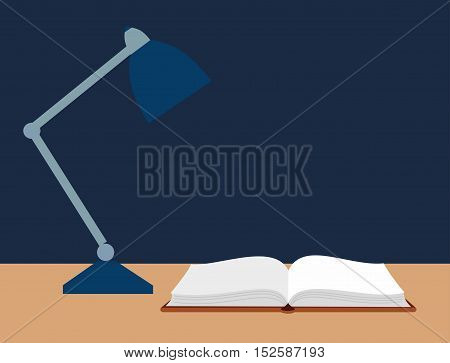 vector illustration of an open book and a reading lamp on the desk