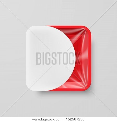 Empty Red Plastic Food Square Container with White Label on Gray