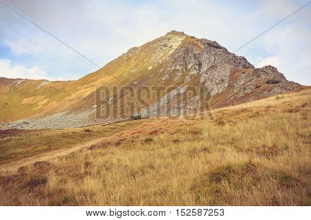 Beautiful mountain landscape. Mountain peak in the autumn scenery in High Tatra Slovakia.