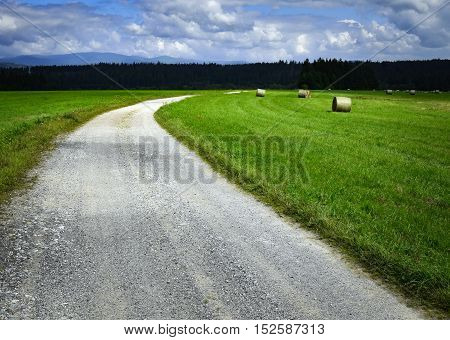 background landscape of rock bend on country road