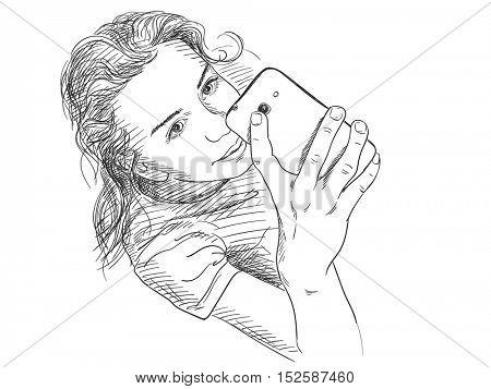Teenage girl taking selfie, Vector sketch Hand drawn illustration