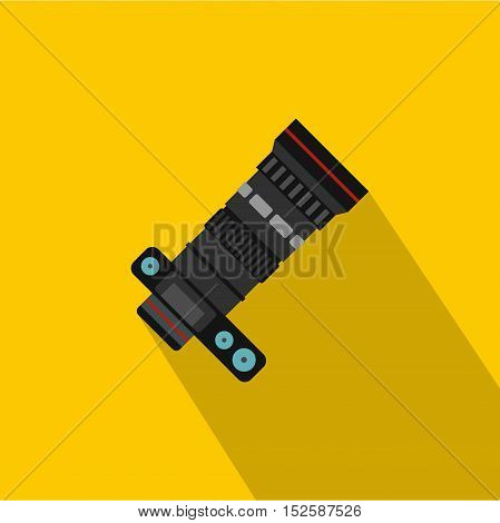 Dslr camera with zoom lens icon. Flat illustration of dslr camera vector icon for web isolated on yellow background