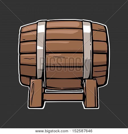 Wooden barrel set engraving vector illustration. Color vintage engraving vector illustration. Isolated on black background