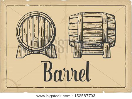 Wooden barrel set engraving vector illustration. Black and white vintage engraving vector illustration.
