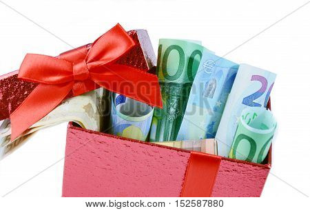 Euro banknote money gift on red box.