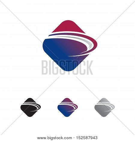 abstract rounded square logo with swoosh through it