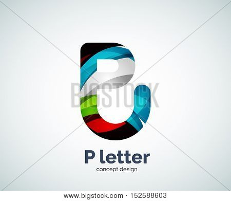 P letter business logo, modern abstract geometric elegant design. Created with waves