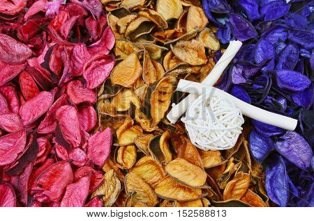 close up from colorful and various scents of potpourri