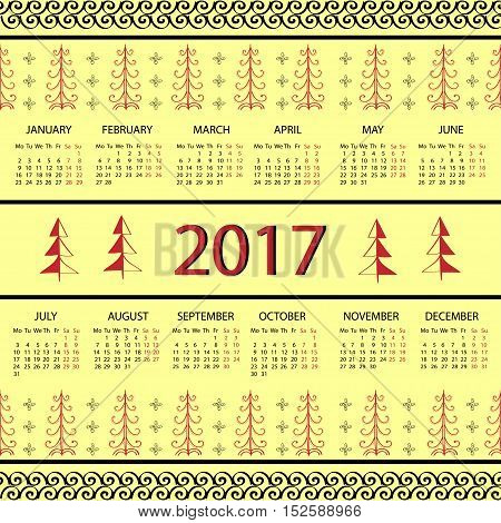 Calendar 2017 year Vintage decorative elements. Pattern vector illustration week starts with Monday.
