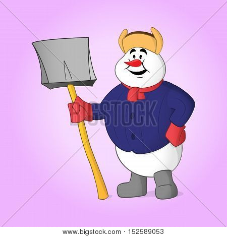 Yardman snowman posing with shovel in his hand
