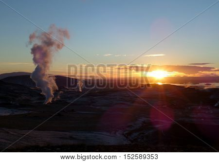 Stunning sunset over the geothermal area of Myvatn, Iceland