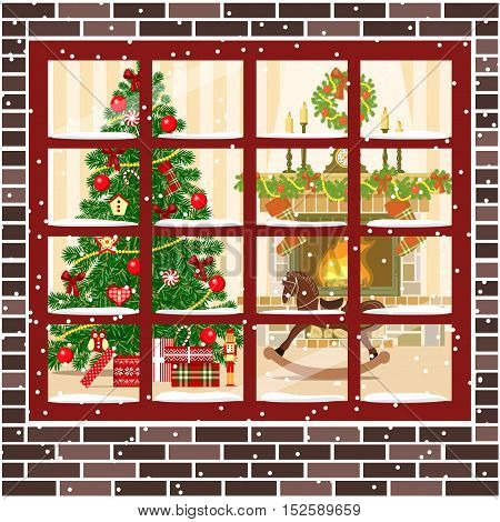 Christmas decorated room with christmas tree and fireplace through the window. Flat style vector illustration. Brown bricks. Illuminated cozy parlor with gifts, toys, rocking-horse, wreath, xmas tree