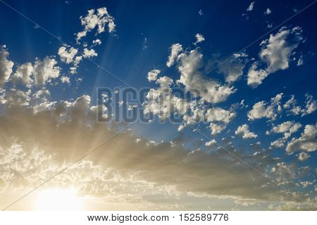 sunset with blue sky and clouds