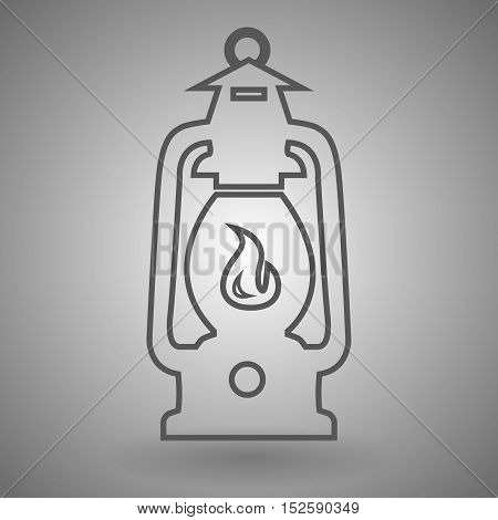 Camping lantern line icon vector illustration on gray background