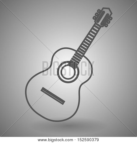 Guitar line icon for web mobile and infographics. Vector dark grey icon isolated on light grey background