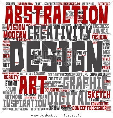 Concept or conceptual creativity art graphic design square word cloud isolated on background