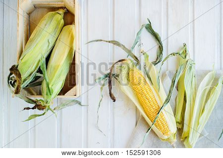top view cob corn on white wooden background
