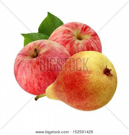 The red-yellow pear and striped red apples isolated on a white background.
