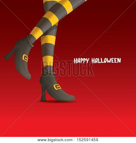 vector girls legs with stripped stockings. witch legs halloween background