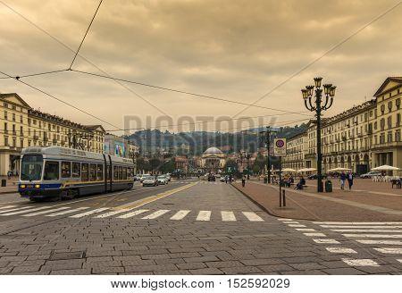 Turin, Italy - September: Public transport in Turin, Italy shot on Veneto square