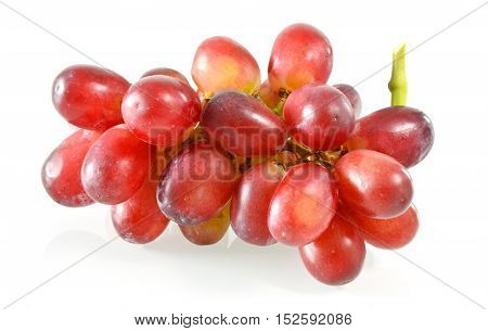 Possible health benefits of grapes on white background, isolated.
