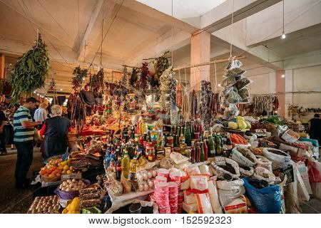 Batumi, Georgia - May 28, 2016: The Abundant Bazar Counter Of Different Traditional Georgian Goods: Condiments, Spices, Herbs, Sauces, Churchkhelas, Dried Fruit For Sale.