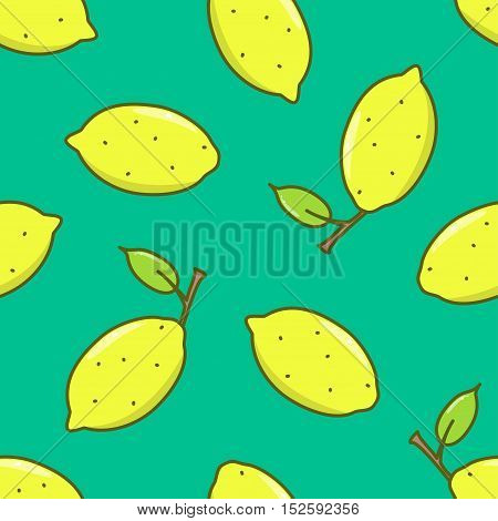 Yellow Lemon with leaf seamless pattern. Vector illustration.