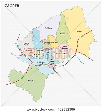 Administrative division map of croatia capital zagreb