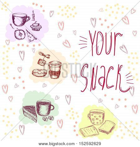 Vector cute illustration with most popular snacks on the go decorated with shady hearts and dots. Augmented with inscription. Decoration for food and catering themes, design element for printed production, books and magazines cover.