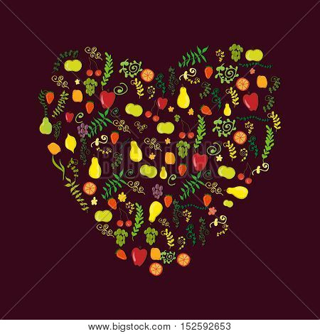 Vector vivid heart-shaped set of many fruits plants and berries on a violet background. Decoration of food and celebration items design element wrapping paper and printed production image.