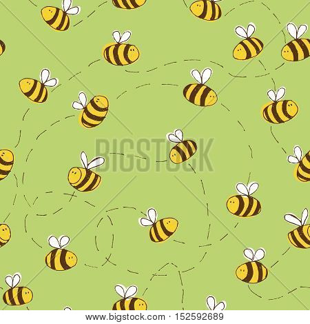 Seamless Pattern with Flying Bees on a Green Background