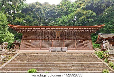 UJI JAPAN - JULY 27 2016: Main Hall Honden (circa 1067) of Ujigami Shinto Shrine in Uji city near Kyoto. National Treasure of Japan and UNESCO site