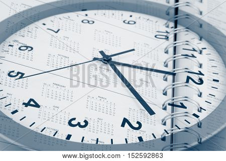 Clock face and diary calendar