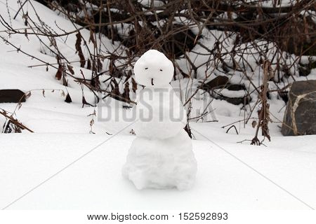 Snowman. Little snowman. New Year card. Winter mood. Lonely snowman on beautiful background. Snowman.