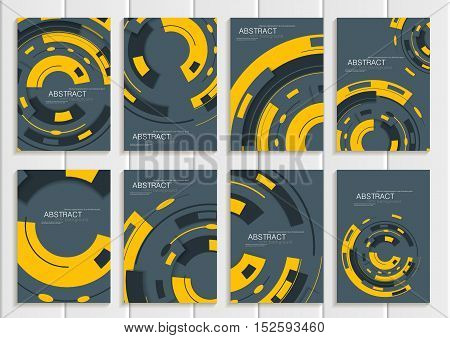 Stock vector set of brochures in abstract style. Design business templates with yellow round, rectangular shapes on gray background for printed materials, elements, web sites, cards, covers, wallpaper