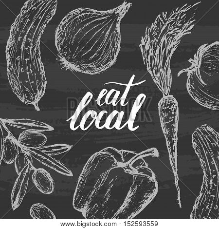 Vector hand drawn modern Eat Local concept booklet, poster and brochure. Chalkboard background and hand lettering.