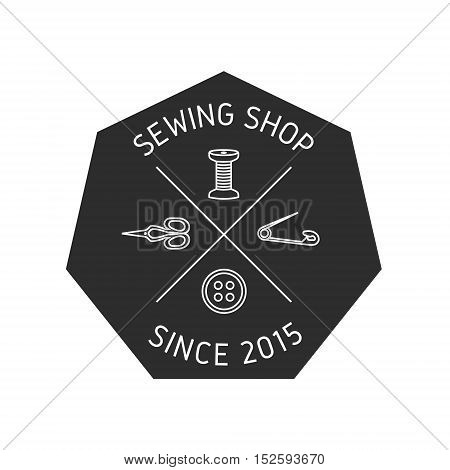Sewing shop logo. Sewing supplies label, emblem.