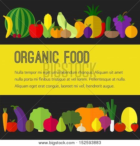 Vector fruit and vegetable flat icons. Organic food concept, template, brochure and flyer.