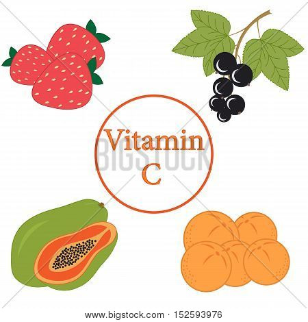 Colorful set of products which contain the most vitamin C on a white background