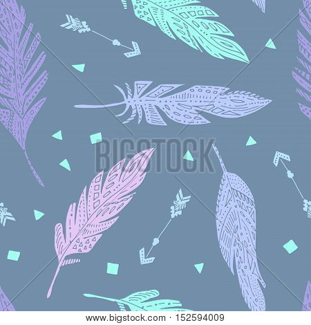 Vector seamless cute feather boho pattern, background.