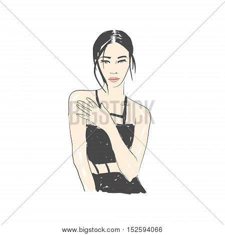 Vector hand drawn trendy fashion illustration. Young glamourous woman character. Concept for poster, magazine, website or card.