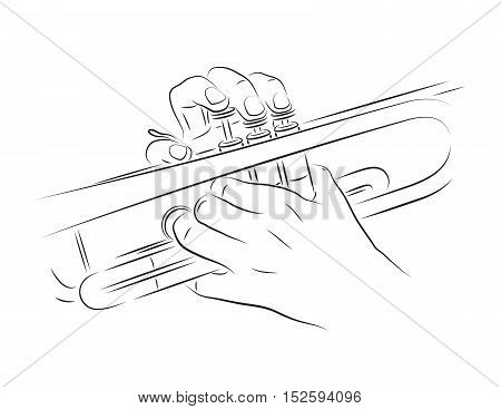 Playing trumpet with hands. Line art Illustration.