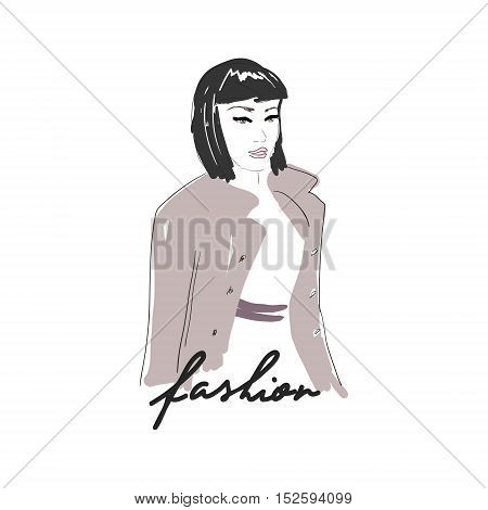 Vector hand drawn trendy fashion illustration. Young glamourous woman with short haircut. Concept for poster, magazine, website or card.