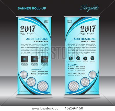 Blue roll up banner template, stand template, banner design, pull up, advertisement, display template, business flyer design