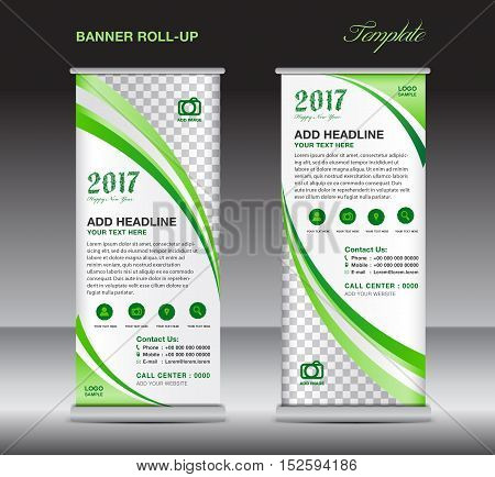 Green roll up banner template, banner design, stand template, display template, pull up ,advertisement, flyer design