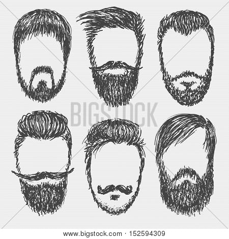 Vector hand drawn hipster beard, mustache, hair style silhouettes.