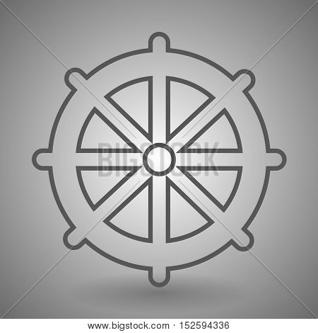 Ship steering wheel icon. Captain rudder sign. Sailing symbol. Linear outline icon