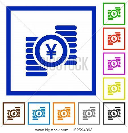 Color Yen coins flat icons in square frames.