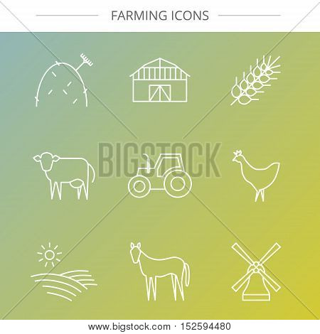 Vector agriculture, farming line icons. Barn wheat hay tractor field cow windmill chicken horse.