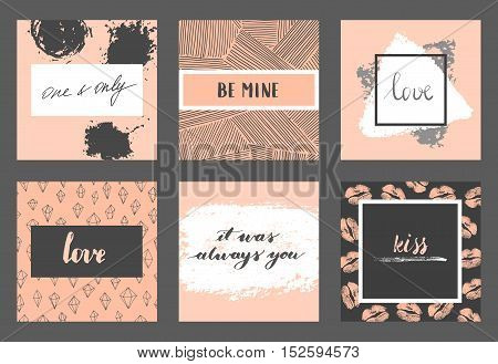 Vector modern love cards and posters for Valentines Day or date, wedding. Hand lettering, brush strokes.